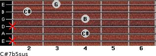 C#7b5sus for guitar on frets x, 4, x, 4, 2, 3