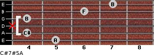 C#7#5/A for guitar on frets 5, 4, x, 4, 6, 7