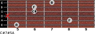 C#7#5/A for guitar on frets 5, 8, x, 6, 6, 7