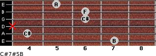 C#7#5/B for guitar on frets 7, 4, x, 6, 6, 5