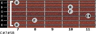 C#7#5/B for guitar on frets 7, 8, 11, 10, 10, 7