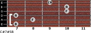 C#7#5/B for guitar on frets 7, 8, 7, 10, 10, 9