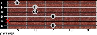 C#7#5/B for guitar on frets 7, x, 7, 6, 6, 5