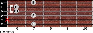 C#7#5/B for guitar on frets 7, x, 7, 6, 6, 7