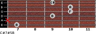 C#7#5/B for guitar on frets 7, x, 9, 10, 10, 9