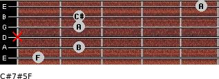 C#7#5/F for guitar on frets 1, 2, x, 2, 2, 5