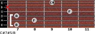 C#7#5/B for guitar on frets 7, 8, 7, 10, x, 9