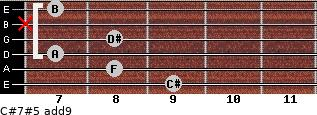 C#7#5(add9) for guitar on frets 9, 8, 7, 8, x, 7