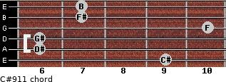 C#9/11 for guitar on frets 9, 6, 6, 10, 7, 7