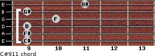 C#9/11 for guitar on frets 9, 9, 9, 10, 9, 11