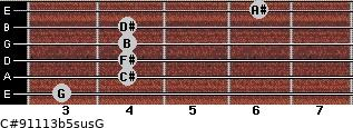 C#9/11/13b5sus/G for guitar on frets 3, 4, 4, 4, 4, 6