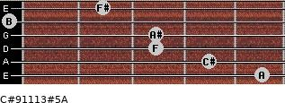 C#9/11/13#5/A for guitar on frets 5, 4, 3, 3, 0, 2