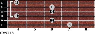 C#9/11/B for guitar on frets 7, 6, 4, 6, 6, 4