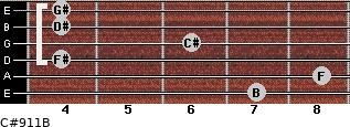 C#9/11/B for guitar on frets 7, 8, 4, 6, 4, 4