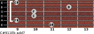 C#9/11/Eb add(7) guitar chord