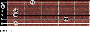 C#9/11/F for guitar on frets 1, 4, 1, 1, 0, 2