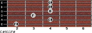 C#9/11/F# for guitar on frets 2, 4, 3, 4, 4, 4