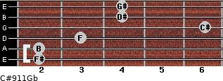 C#9/11/Gb for guitar on frets 2, 2, 3, 6, 4, 4
