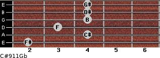C#9/11/Gb for guitar on frets 2, 4, 3, 4, 4, 4