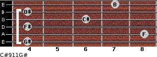 C#9/11/G# for guitar on frets 4, 8, 4, 6, 4, 7