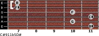 C#9/11b5/D# for guitar on frets 11, 10, 11, 10, 7, 7