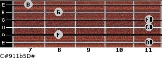 C#9/11b5/D# for guitar on frets 11, 8, 11, 11, 8, 7