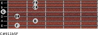 C#9/11b5/F for guitar on frets 1, 2, 1, 0, 2, 2