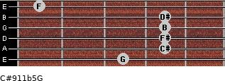 C#9/11b5/G for guitar on frets 3, 4, 4, 4, 4, 1
