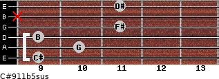 C#9/11b5sus for guitar on frets 9, 10, 9, 11, x, 11