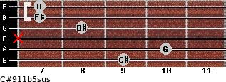 C#9/11b5sus for guitar on frets 9, 10, x, 8, 7, 7
