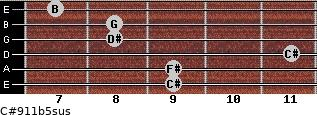 C#9/11b5sus for guitar on frets 9, 9, 11, 8, 8, 7