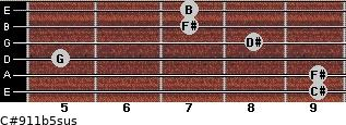 C#9/11b5sus for guitar on frets 9, 9, 5, 8, 7, 7