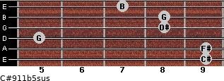 C#9/11b5sus for guitar on frets 9, 9, 5, 8, 8, 7