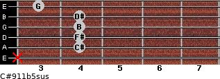 C#9/11b5sus for guitar on frets x, 4, 4, 4, 4, 3