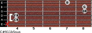 C#9/11b5sus for guitar on frets x, 4, 4, 8, 8, 7