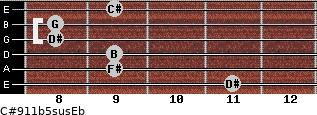C#9/11b5sus/Eb for guitar on frets 11, 9, 9, 8, 8, 9