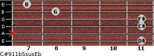 C#9/11b5sus/Eb for guitar on frets 11, x, 11, 11, 8, 7