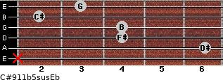 C#9/11b5sus/Eb for guitar on frets x, 6, 4, 4, 2, 3