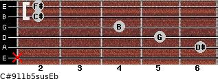 C#9/11b5sus/Eb for guitar on frets x, 6, 5, 4, 2, 2