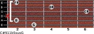C#9/11b5sus/G for guitar on frets 3, 2, x, 6, 4, 2