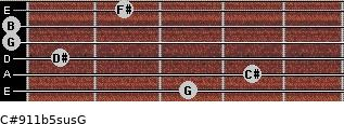 C#9/11b5sus/G for guitar on frets 3, 4, 1, 0, 0, 2