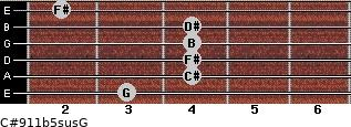 C#9/11b5sus/G for guitar on frets 3, 4, 4, 4, 4, 2