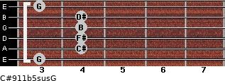 C#9/11b5sus/G for guitar on frets 3, 4, 4, 4, 4, 3