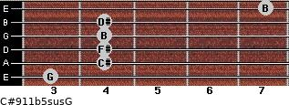 C#9/11b5sus/G for guitar on frets 3, 4, 4, 4, 4, 7
