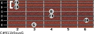 C#9/11b5sus/G for guitar on frets 3, 6, 4, 4, 2, 2
