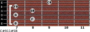 C#9/11#5/B for guitar on frets 7, 8, 7, 8, 7, 9