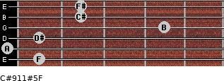 C#9/11#5/F for guitar on frets 1, 0, 1, 4, 2, 2