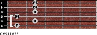 C#9/11#5/F for guitar on frets 1, 2, 1, 2, 2, 2