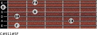 C#9/11#5/F for guitar on frets 1, 4, 1, 2, 0, 2
