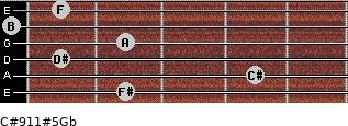 C#9/11#5/Gb for guitar on frets 2, 4, 1, 2, 0, 1